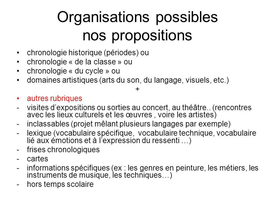 Organisations possibles nos propositions chronologie historique (périodes) ou chronologie « de la classe » ou chronologie « du cycle » ou domaines art