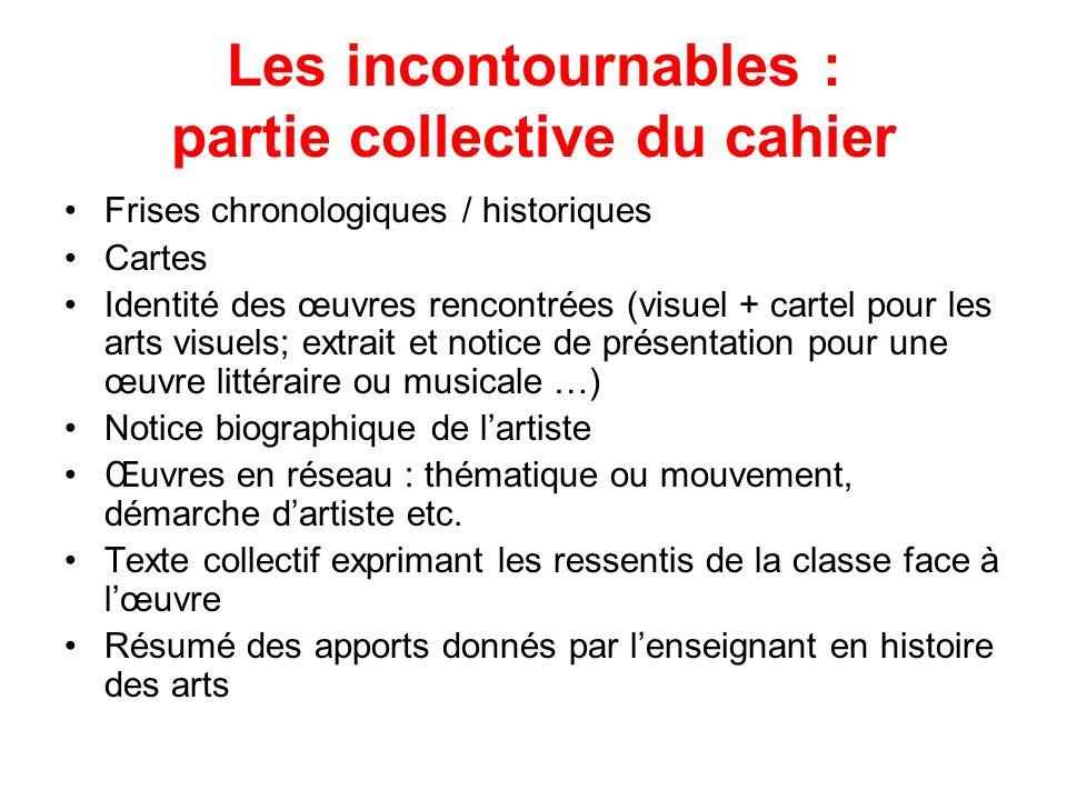 Les incontournables : partie collective du cahier Frises chronologiques / historiques Cartes Identité des œuvres rencontrées (visuel + cartel pour les