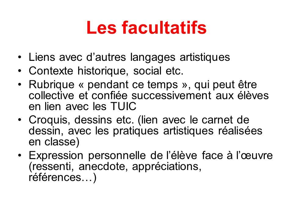 Les facultatifs Liens avec dautres langages artistiques Contexte historique, social etc. Rubrique « pendant ce temps », qui peut être collective et co