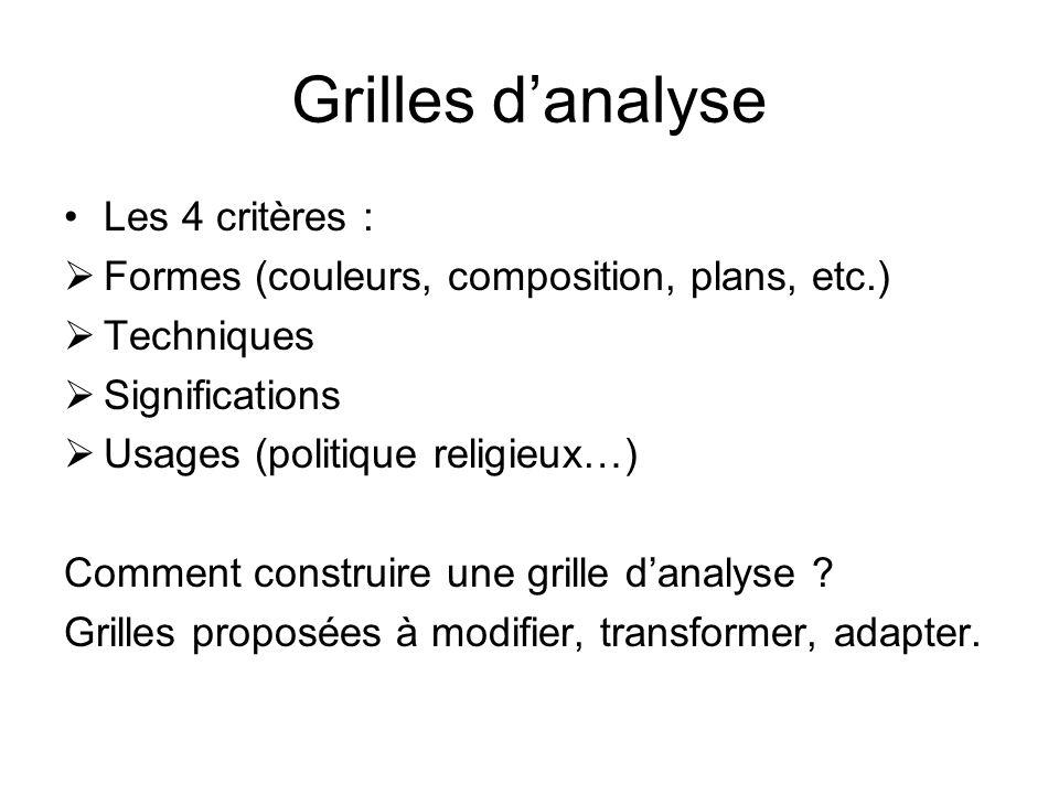 Grilles danalyse Les 4 critères : Formes (couleurs, composition, plans, etc.) Techniques Significations Usages (politique religieux…) Comment construire une grille danalyse .