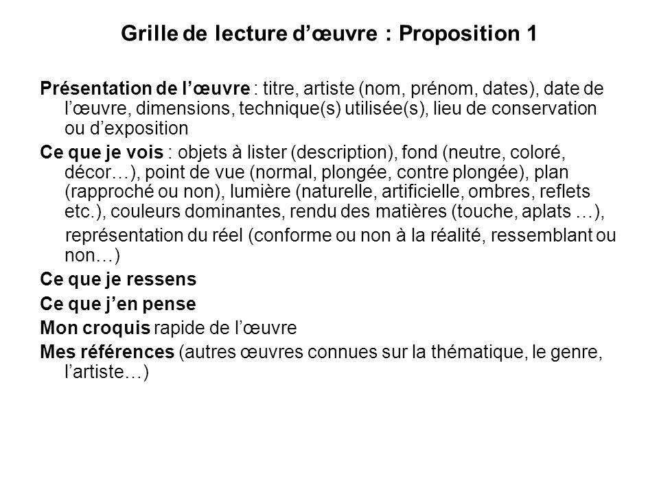 Grille de lecture dœuvre : Proposition 1 Présentation de lœuvre : titre, artiste (nom, prénom, dates), date de lœuvre, dimensions, technique(s) utilis
