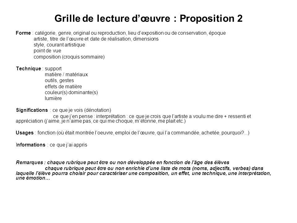 Grille de lecture dœuvre : Proposition 2 Forme : catégorie, genre, original ou reproduction, lieu dexposition ou de conservation, époque artiste, titr