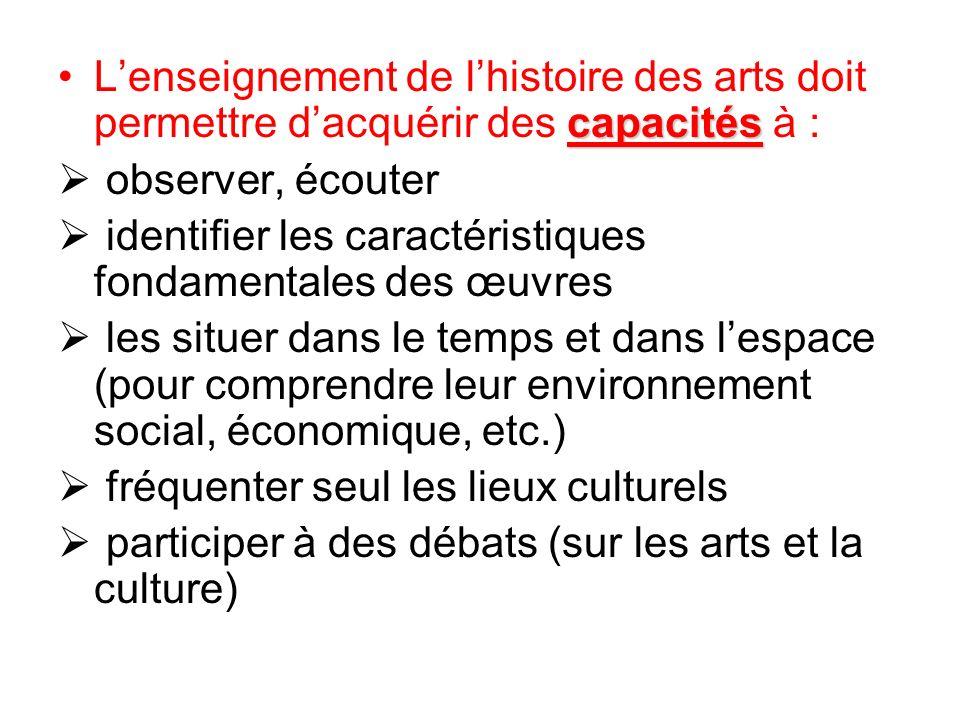 capacitésLenseignement de lhistoire des arts doit permettre dacquérir des capacités à : observer, écouter identifier les caractéristiques fondamentale