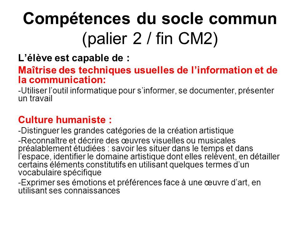 Compétences du socle commun (palier 2 / fin CM2) Lélève est capable de : Maîtrise des techniques usuelles de linformation et de la communication: -Uti
