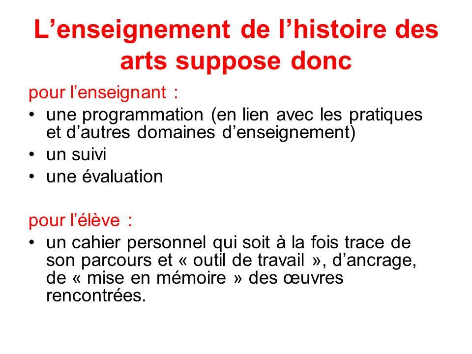 Lenseignement de lhistoire des arts suppose donc pour lenseignant : une programmation (en lien avec les pratiques et dautres domaines denseignement) u