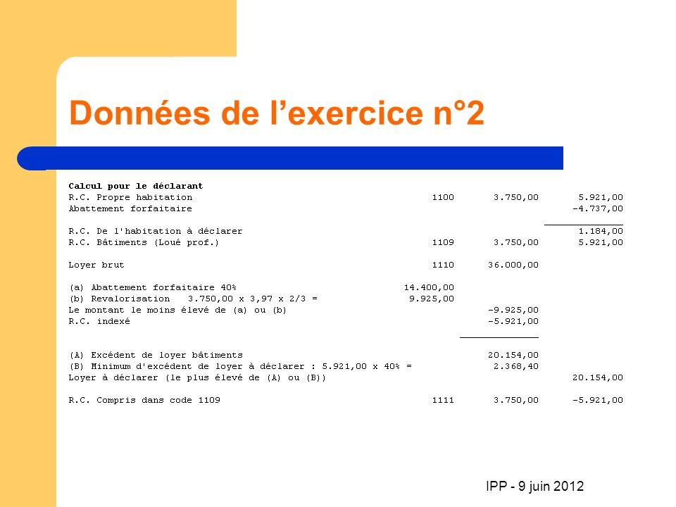 Données de lexercice n°2 IPP - 9 juin 2012