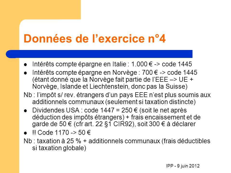 IPP - 9 juin 2012 Données de lexercice n°4 Intérêts compte épargne en Italie : 1.000 -> code 1445 Intérêts compte épargne en Norvège : 700 -> code 1445 (étant donné que la Norvège fait partie de lEEE –> UE + Norvège, Islande et Liechtenstein, donc pas la Suisse) Nb : limpôt s/ rev.