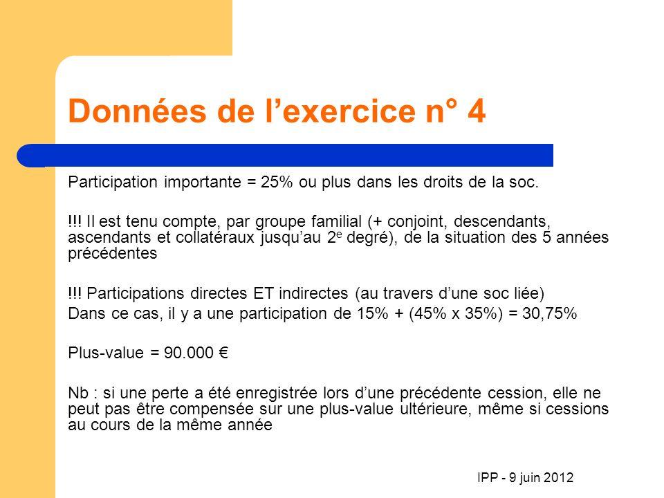 IPP - 9 juin 2012 Données de lexercice n° 4 Participation importante = 25% ou plus dans les droits de la soc.