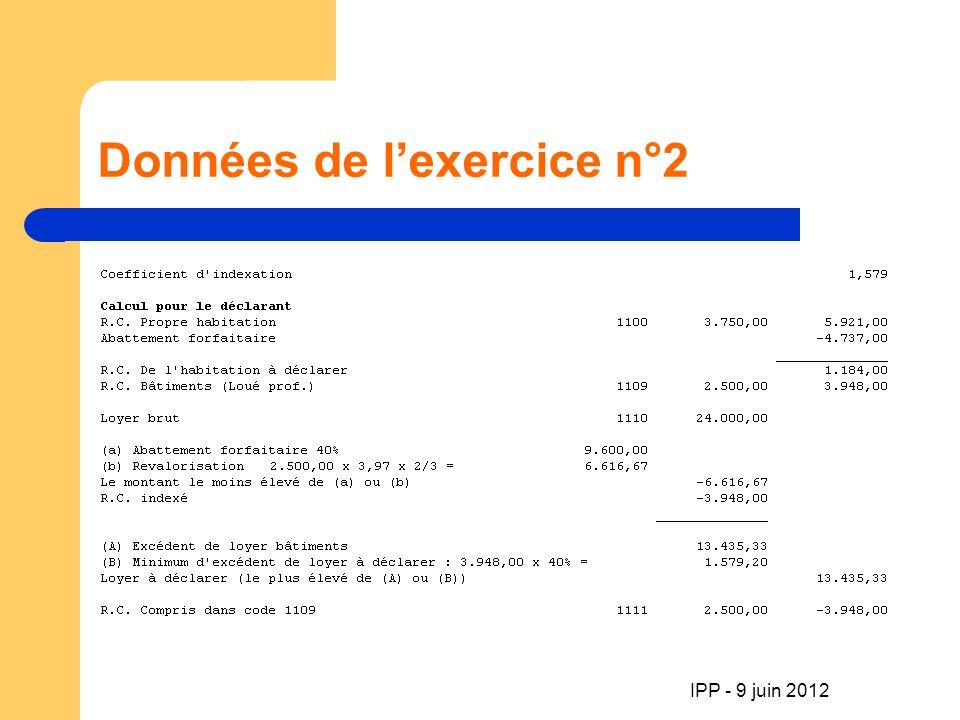 Données de lexercice n°2 !.