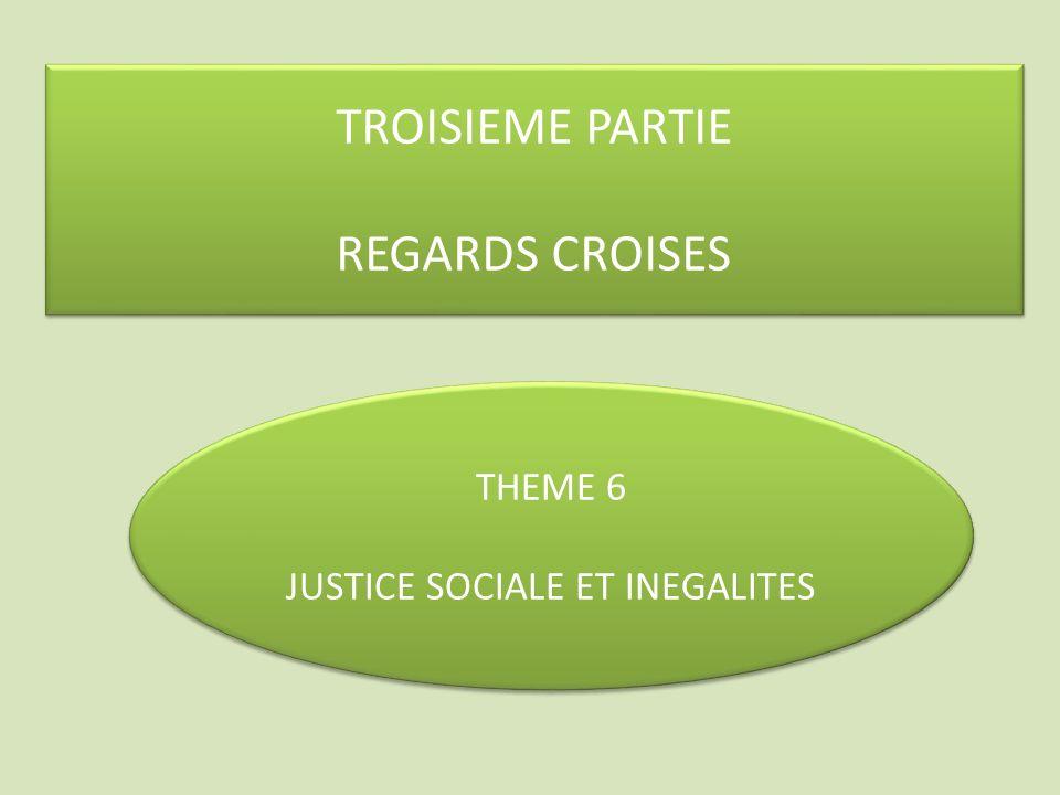 TROISIEME PARTIE REGARDS CROISES TROISIEME PARTIE REGARDS CROISES THEME 6 JUSTICE SOCIALE ET INEGALITES THEME 6 JUSTICE SOCIALE ET INEGALITES