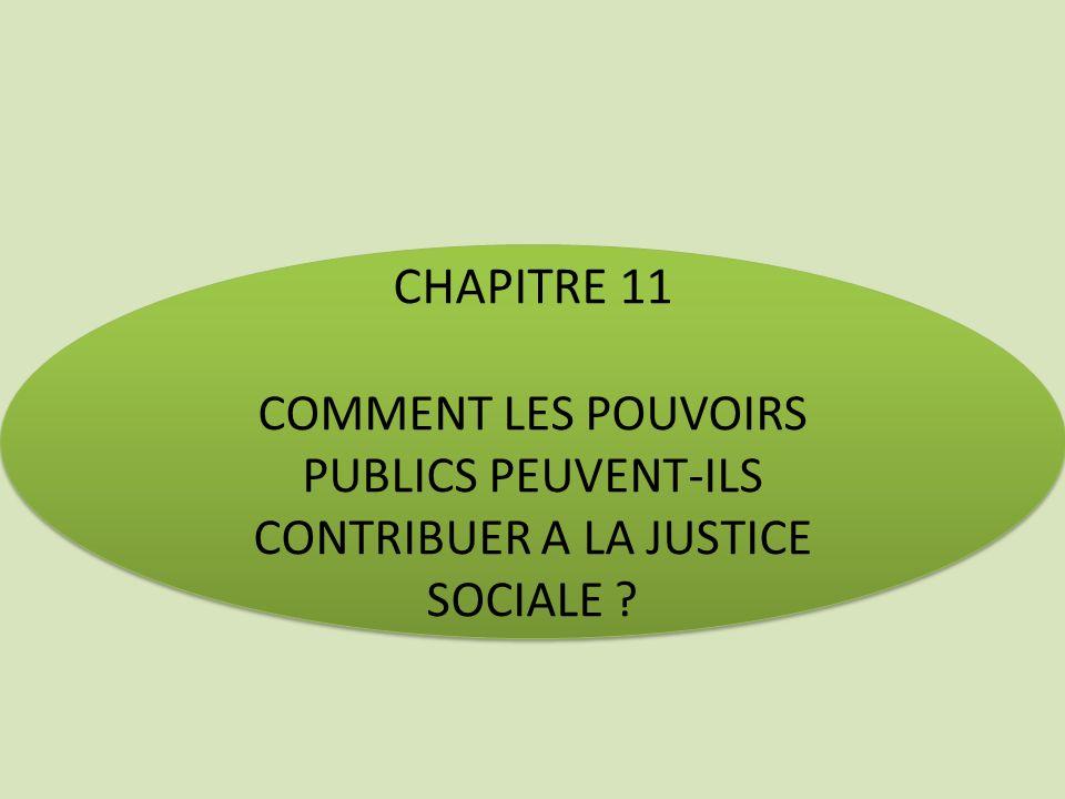 CHAPITRE 11 COMMENT LES POUVOIRS PUBLICS PEUVENT-ILS CONTRIBUER A LA JUSTICE SOCIALE ? CHAPITRE 11 COMMENT LES POUVOIRS PUBLICS PEUVENT-ILS CONTRIBUER