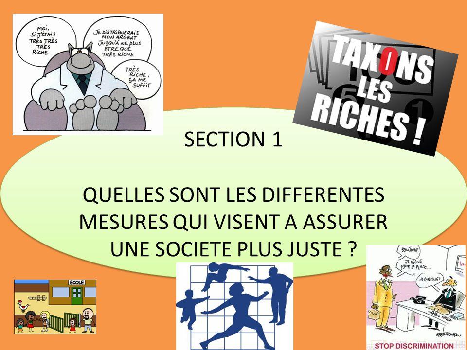 SECTION 1 QUELLES SONT LES DIFFERENTES MESURES QUI VISENT A ASSURER UNE SOCIETE PLUS JUSTE ? SECTION 1 QUELLES SONT LES DIFFERENTES MESURES QUI VISENT