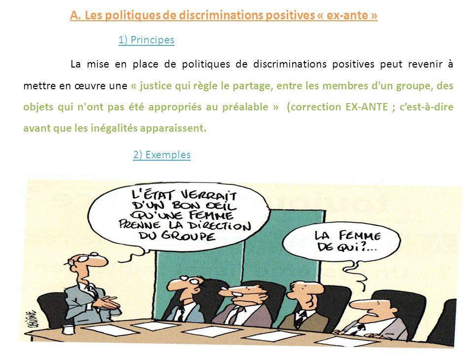 La mise en place de politiques de discriminations positives peut revenir à mettre en œuvre une « justice qui règle le partage, entre les membres d'un