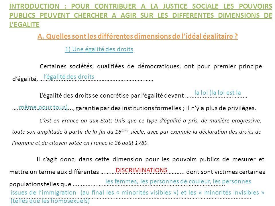 Certaines sociétés, qualifiées de démocratiques, ont pour premier principe dégalité, ……………………………………………………………… Légalité des droits se concrétise par lé