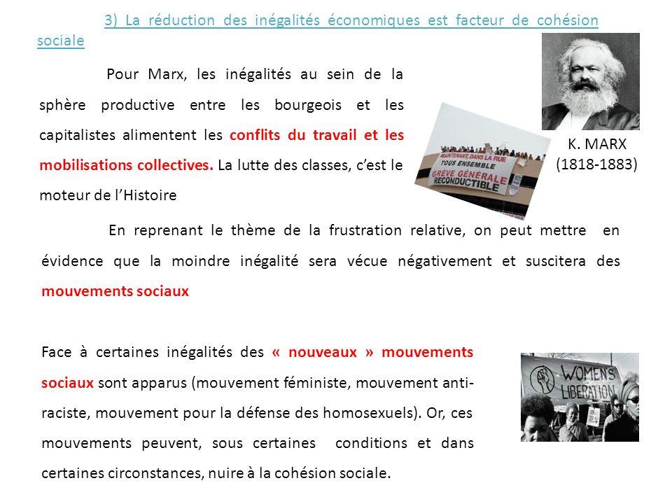 3) La réduction des inégalités économiques est facteur de cohésion sociale Pour Marx, les inégalités au sein de la sphère productive entre les bourgeo