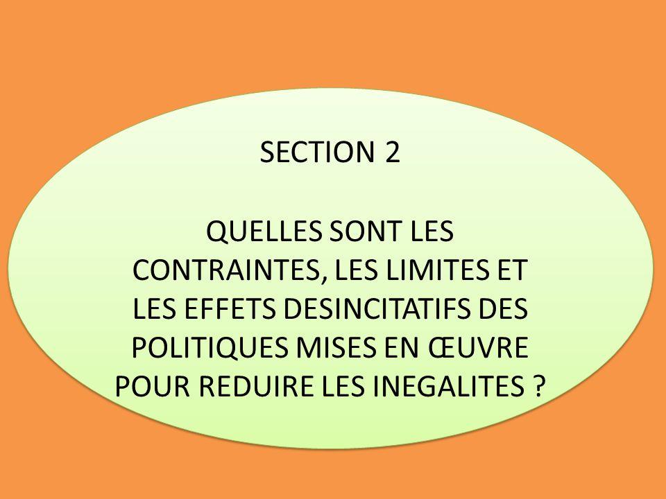 SECTION 2 QUELLES SONT LES CONTRAINTES, LES LIMITES ET LES EFFETS DESINCITATIFS DES POLITIQUES MISES EN ŒUVRE POUR REDUIRE LES INEGALITES ? SECTION 2