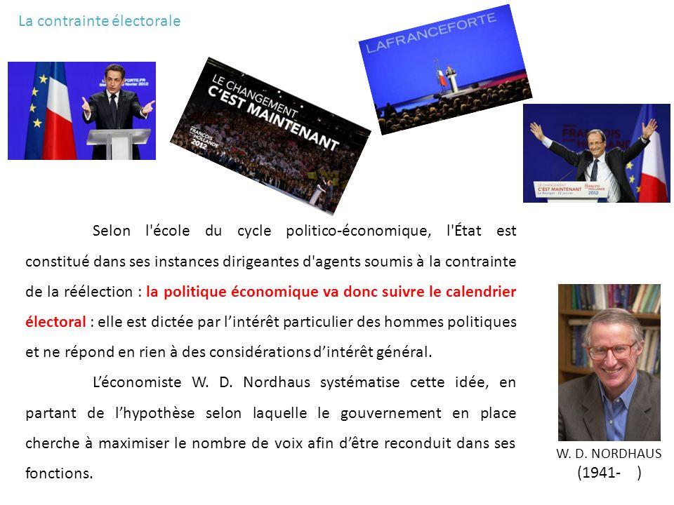La contrainte électorale Selon l'école du cycle politico-économique, l'État est constitué dans ses instances dirigeantes d'agents soumis à la contrain