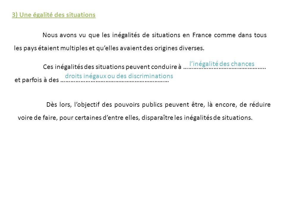 3) Une égalité des situations Nous avons vu que les inégalités de situations en France comme dans tous les pays étaient multiples et quelles avaient d