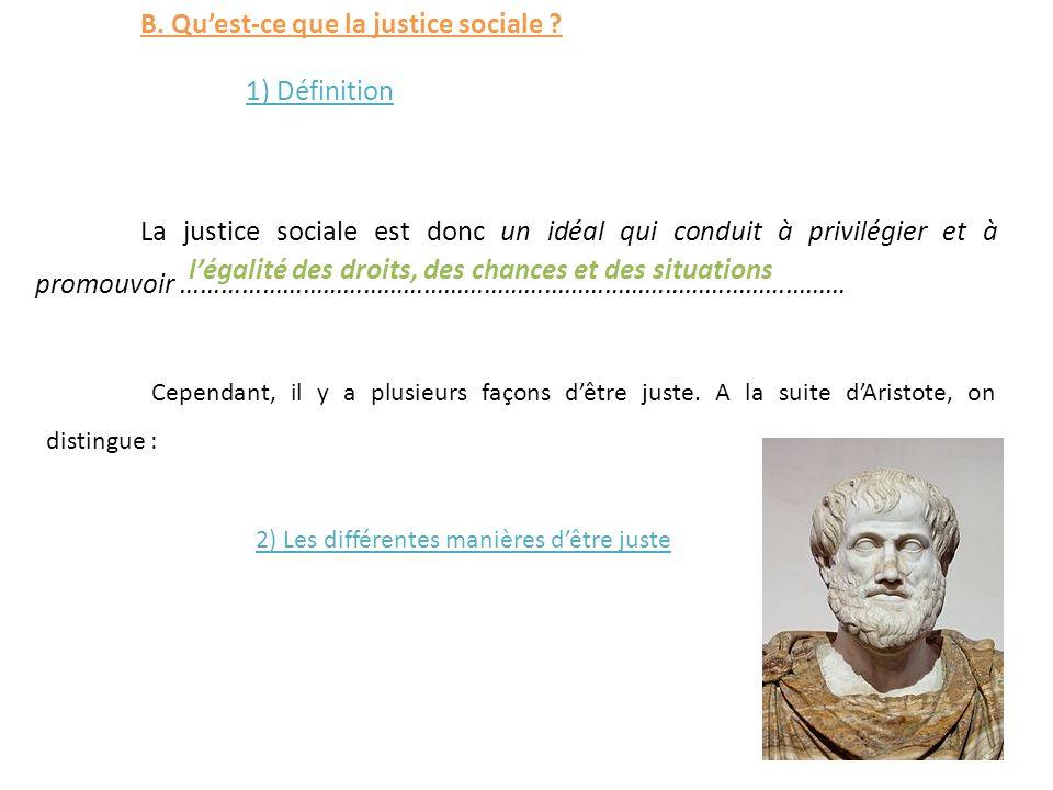 B. Quest-ce que la justice sociale ? 1) Définition La justice sociale est donc un idéal qui conduit à privilégier et à promouvoir ……………………………………………………