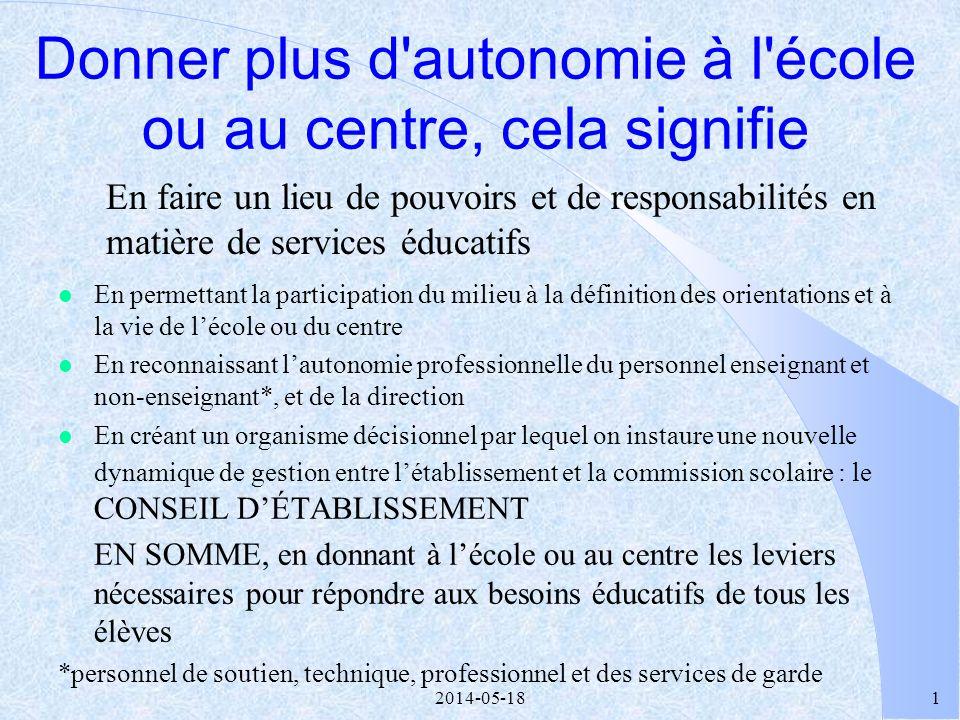 2014-05-1821 4 LE PARTENARIAT Lexercice dun pouvoir en collégialité dans le respect des compétences de chacun, visant un objectif partagé: la réussite des élèves.