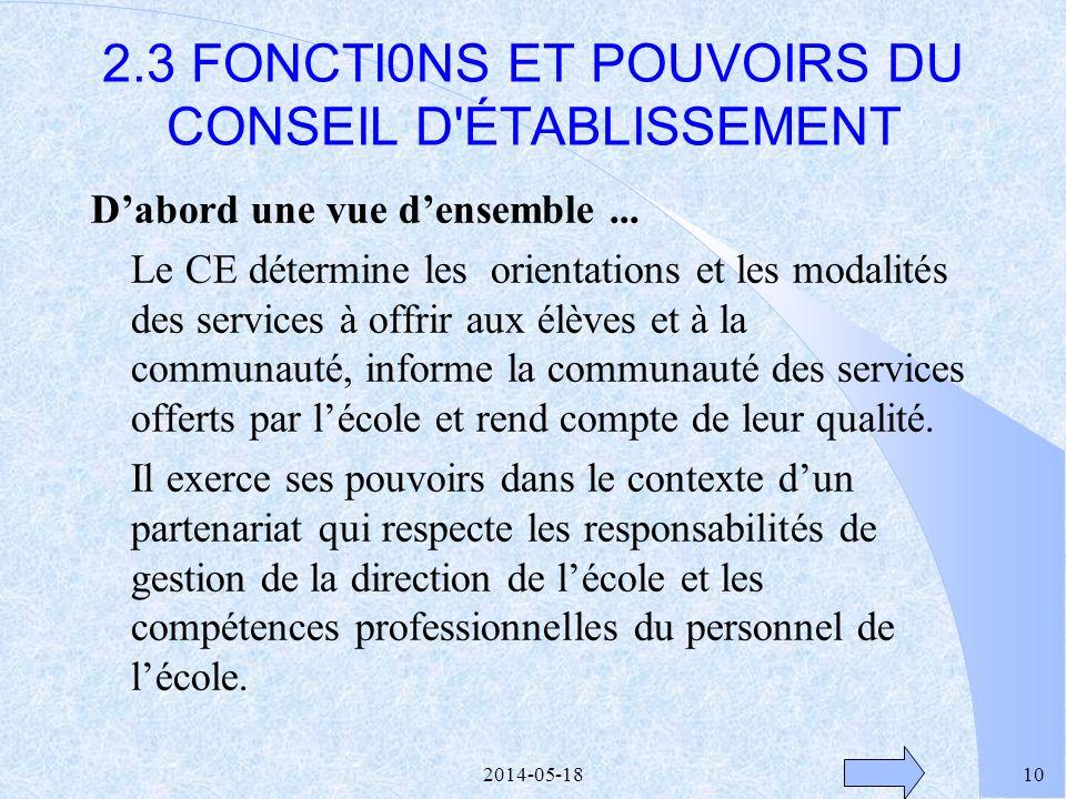 2014-05-189 Sujets à traiter en début de mandat l Procédures délection à la présidence l Élection à la présidence l Nomination des représentants de la
