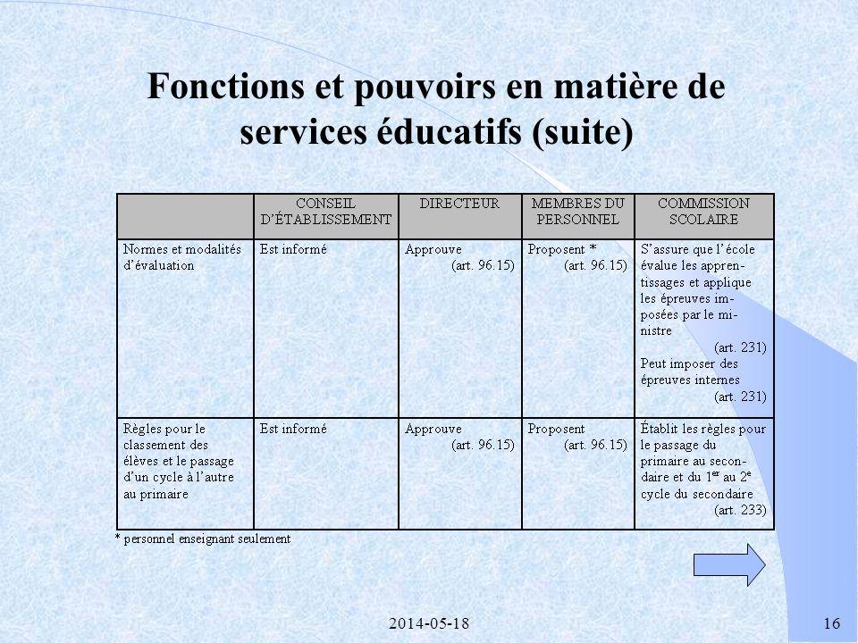 2014-05-1815 Fonctions et pouvoirs en matière de services éducatifs (suite)