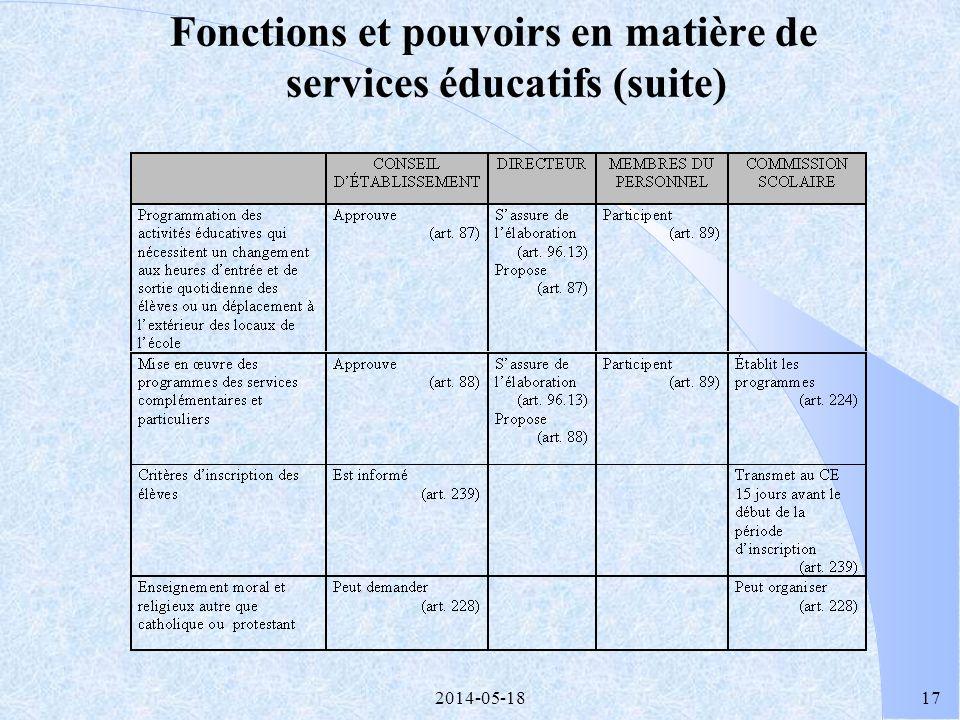 2014-05-1816 Fonctions et pouvoirs en matière de services éducatifs (suite)