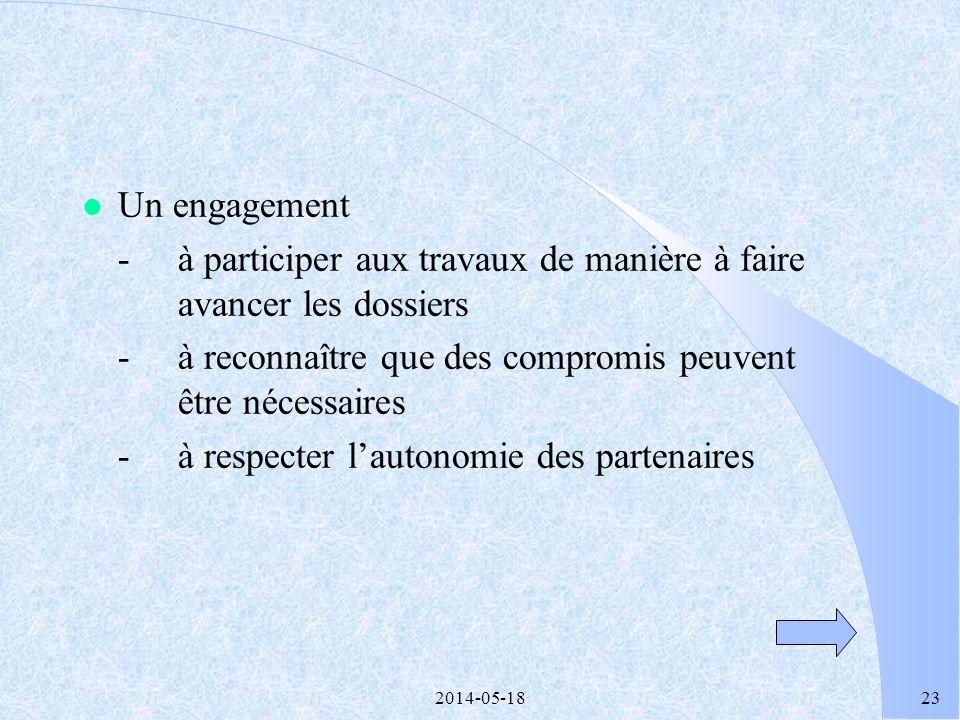 2014-05-1822 Conditions dun véritable partenariat l Un parti pris -pour laction concrète afin daboutir à des résultats tangibles en matière de réussit