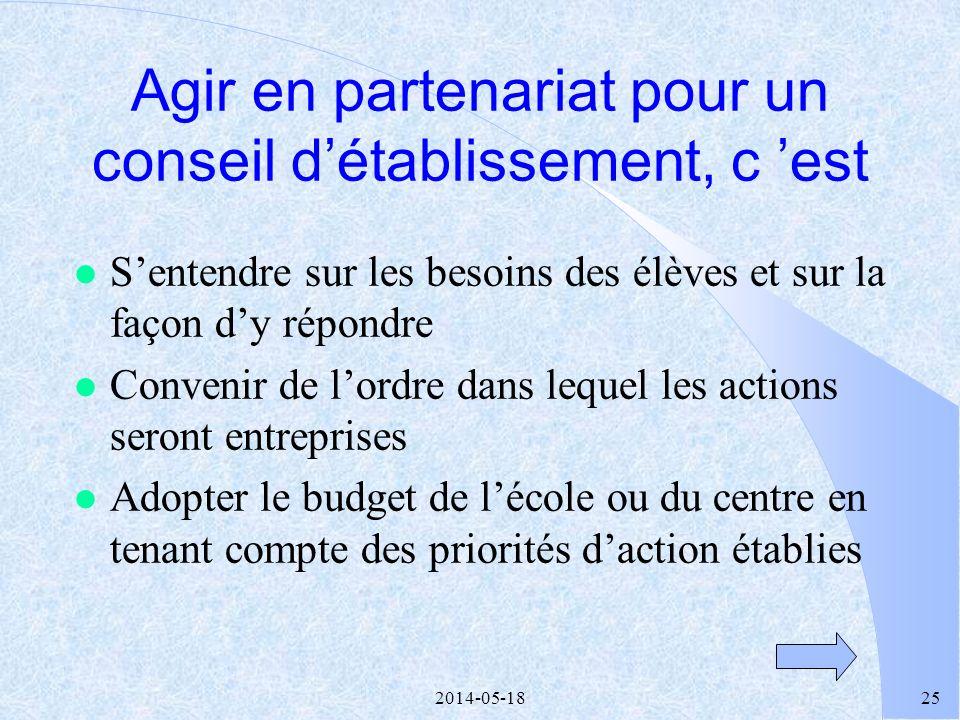 2014-05-1824 l Des discussions -centrées sur les services aux élèves -respectueuses de lopinion de chacun -facilitées par la simplicité des règles de