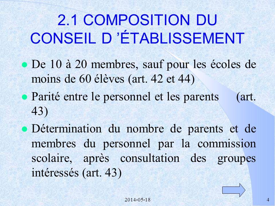 2014-05-1824 l Des discussions -centrées sur les services aux élèves -respectueuses de lopinion de chacun -facilitées par la simplicité des règles de fonctionnement