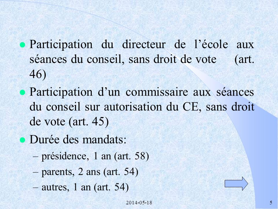 2014-05-184 2.1 COMPOSITION DU CONSEIL D ÉTABLISSEMENT l De 10 à 20 membres, sauf pour les écoles de moins de 60 élèves (art. 42 et 44) l Parité entre