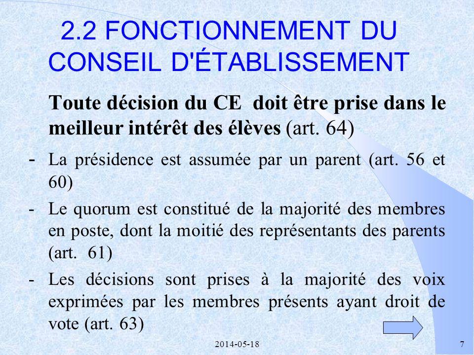 2014-05-1827 LE SITE INTERNET DES CONSEILS D ÉTABLISSEMENT http://ce.rtsq.qc.ca 5 DANS LE SITE : l Information Formation l Communication LADRESSE :
