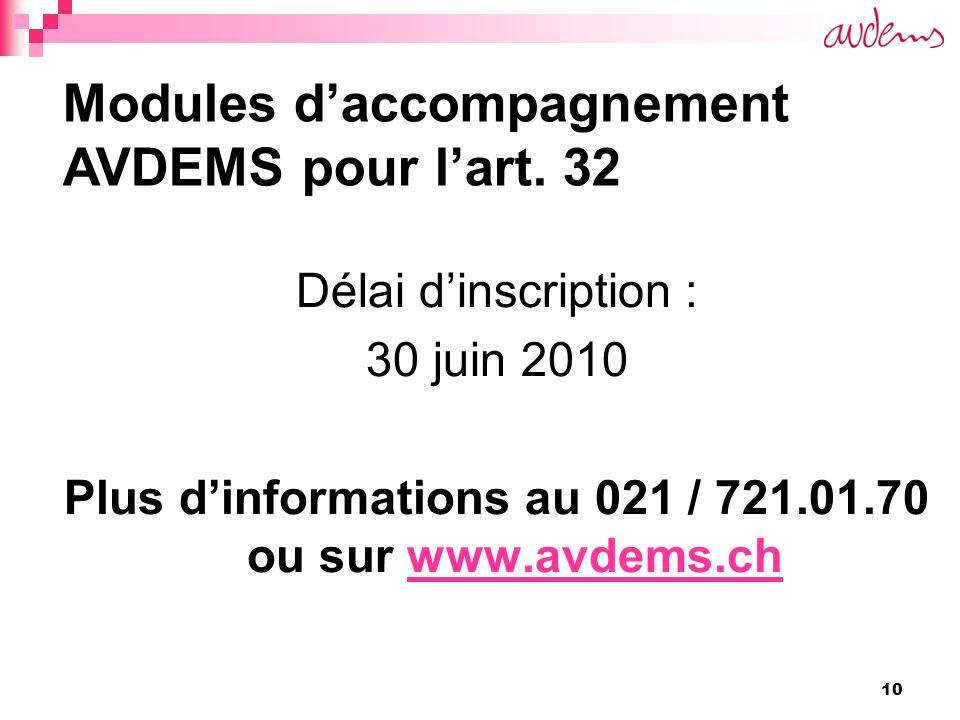 10 Délai dinscription : 30 juin 2010 Plus dinformations au 021 / 721.01.70 ou sur www.avdems.chwww.avdems.ch Modules daccompagnement AVDEMS pour lart.