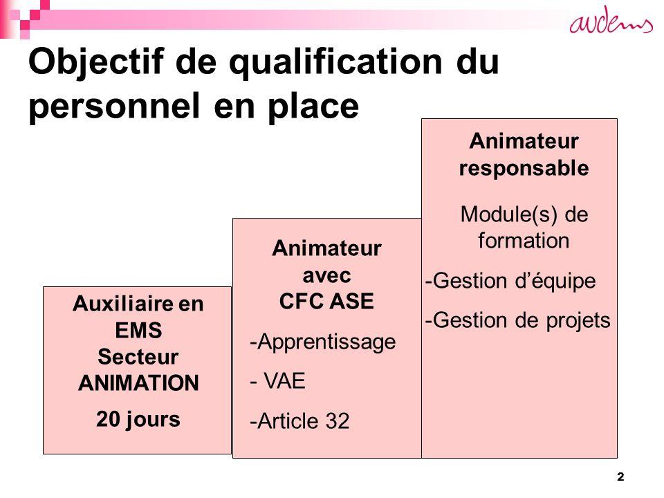 2 Objectif de qualification du personnel en place Auxiliaire en EMS Secteur ANIMATION 20 jours Animateur avec CFC ASE -Apprentissage - VAE -Article 32 Animateur responsable Module(s) de formation -Gestion déquipe -Gestion de projets
