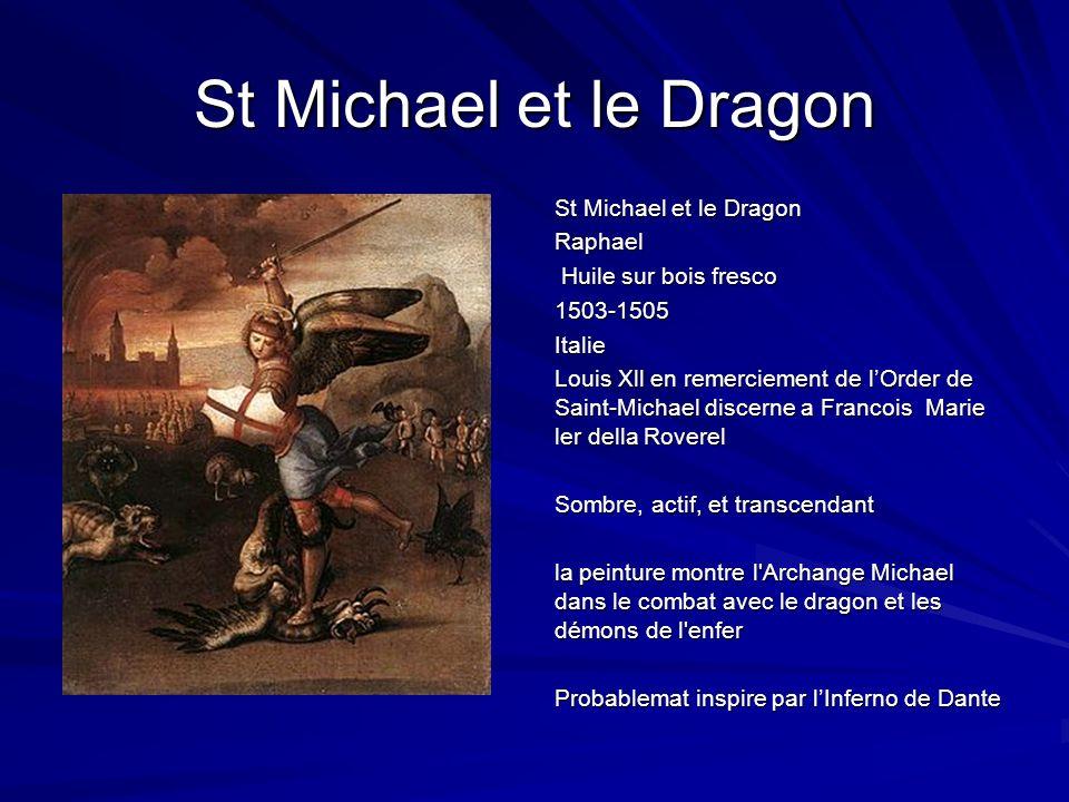 St Michael et le Dragon Raphael Huile sur bois fresco Huile sur bois fresco1503-1505Italie Louis Xll en remerciement de lOrder de Saint-Michael discer