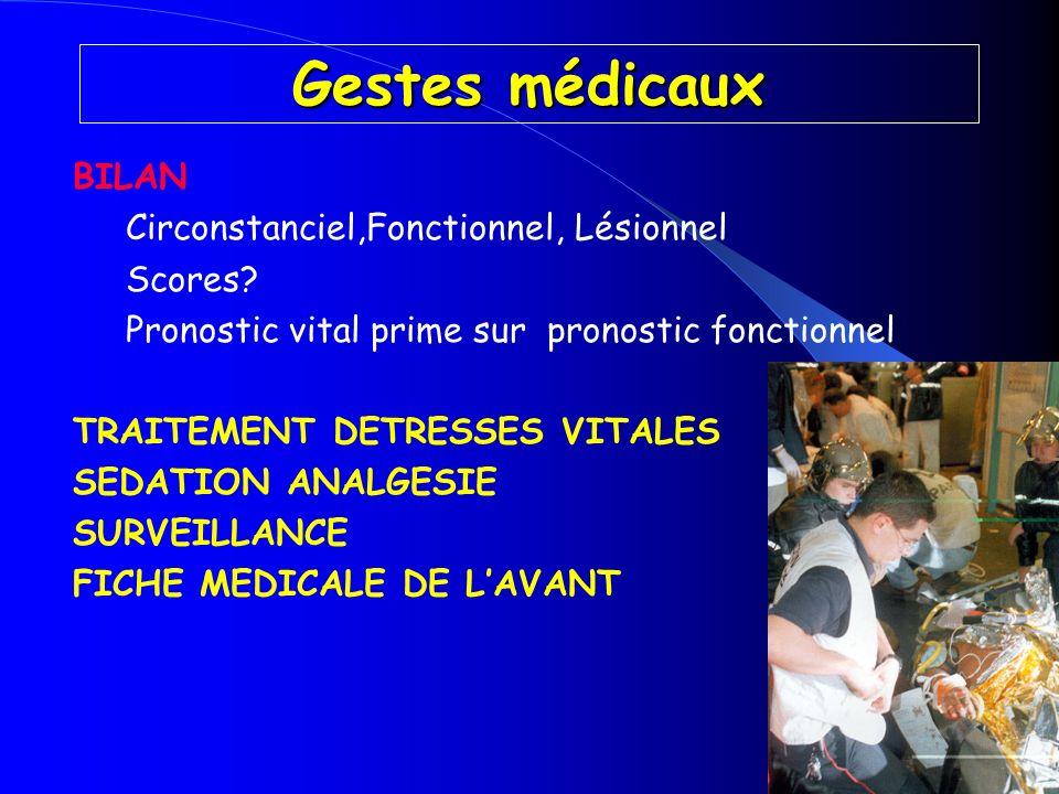 Gestes médicaux BILAN Circonstanciel,Fonctionnel, Lésionnel Scores? Pronostic vital prime sur pronostic fonctionnel TRAITEMENT DETRESSES VITALES SEDAT