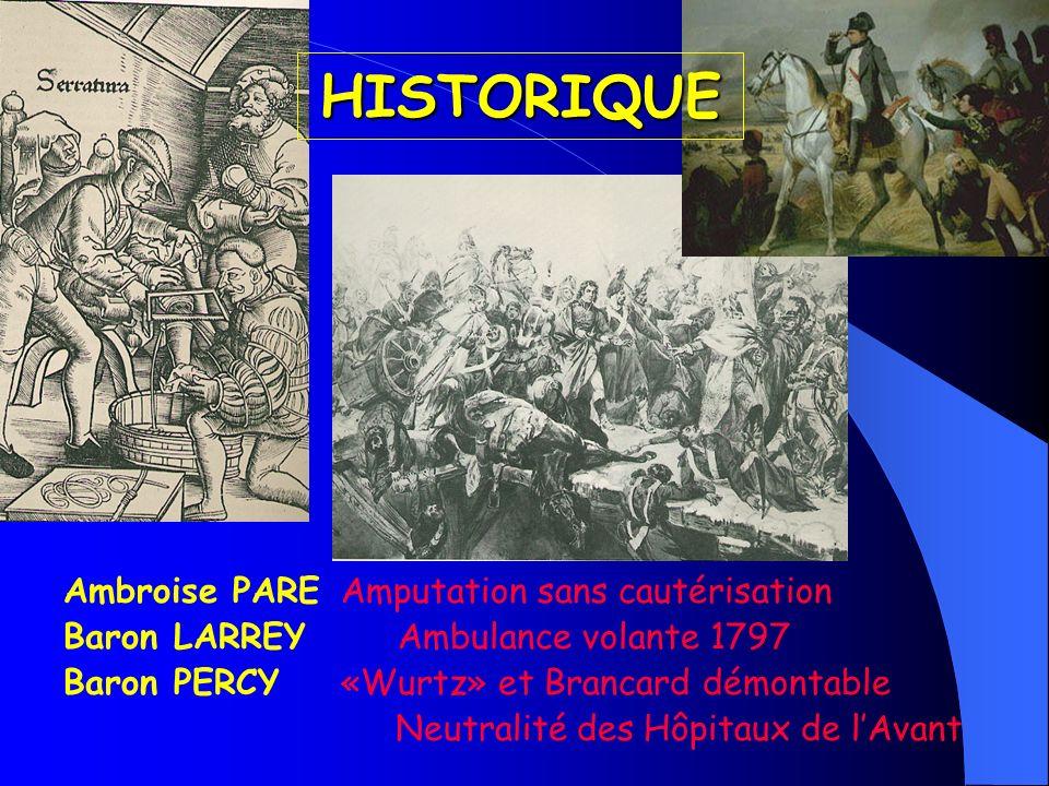HISTORIQUE Ambroise PARE Amputation sans cautérisation Baron LARREY Ambulance volante 1797 Baron PERCY «Wurtz» et Brancard démontable Neutralité des H