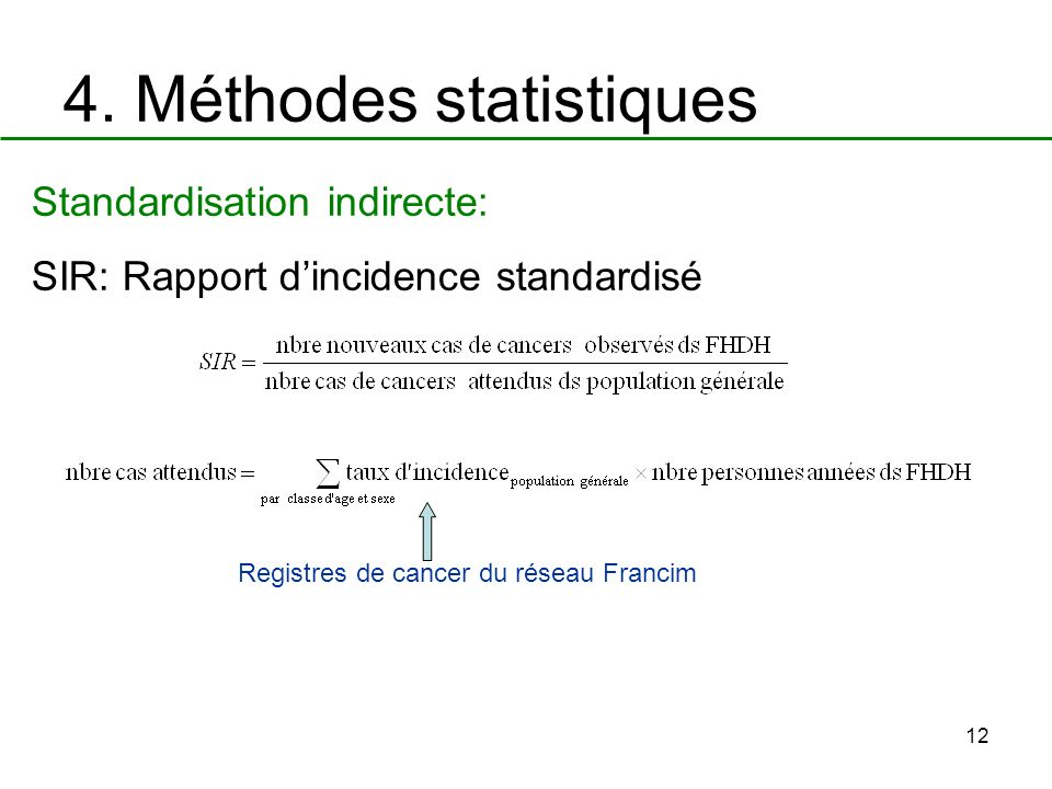 12 4. Méthodes statistiques Standardisation indirecte: SIR: Rapport dincidence standardisé Registres de cancer du réseau Francim