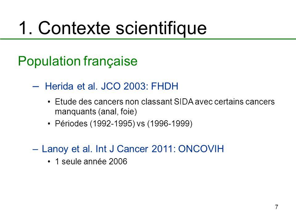 7 1. Contexte scientifique Population française – Herida et al. JCO 2003: FHDH Etude des cancers non classant SIDA avec certains cancers manquants (an