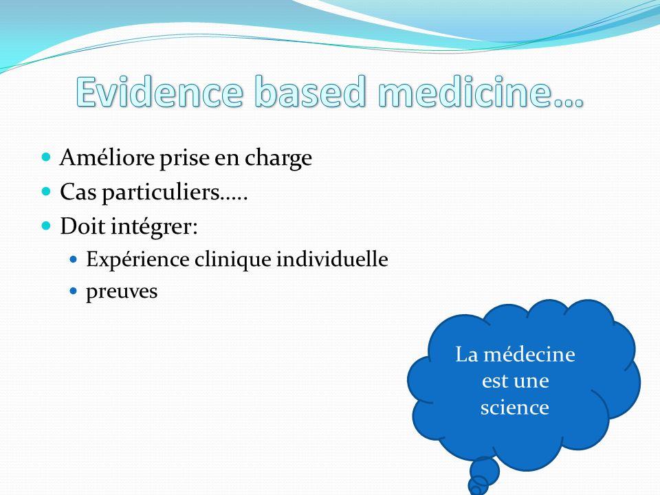 Améliore prise en charge Cas particuliers….. Doit intégrer: Expérience clinique individuelle preuves La médecine est une science