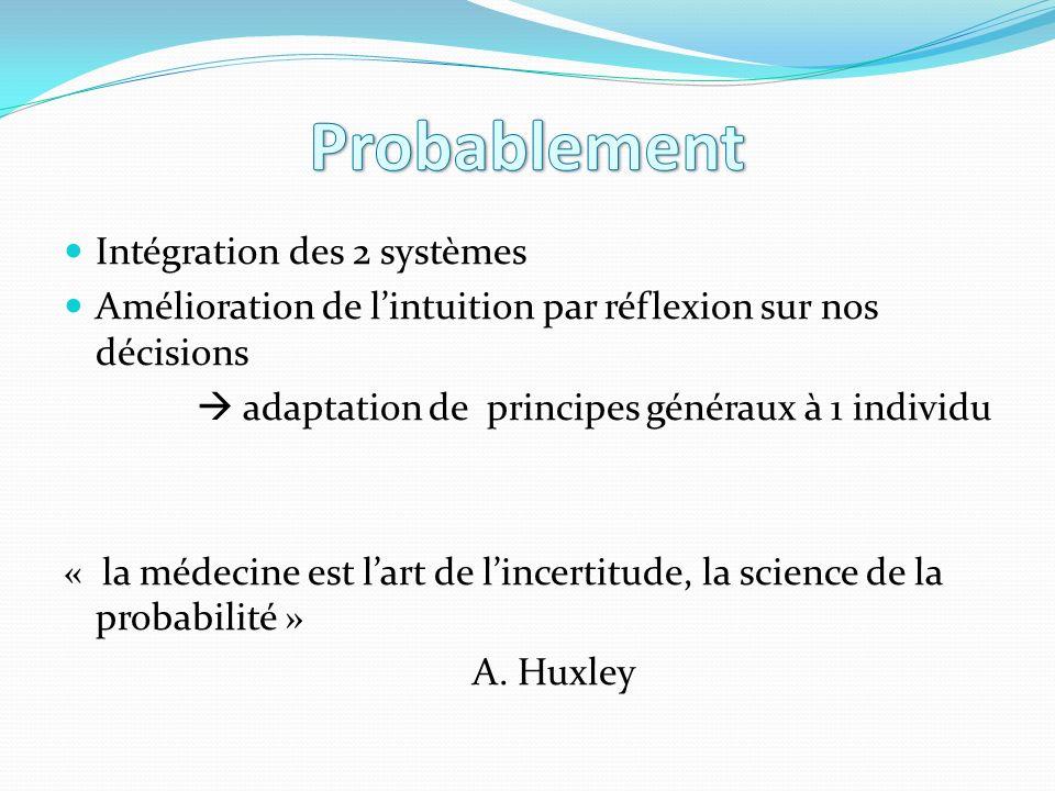 Intégration des 2 systèmes Amélioration de lintuition par réflexion sur nos décisions adaptation de principes généraux à 1 individu « la médecine est