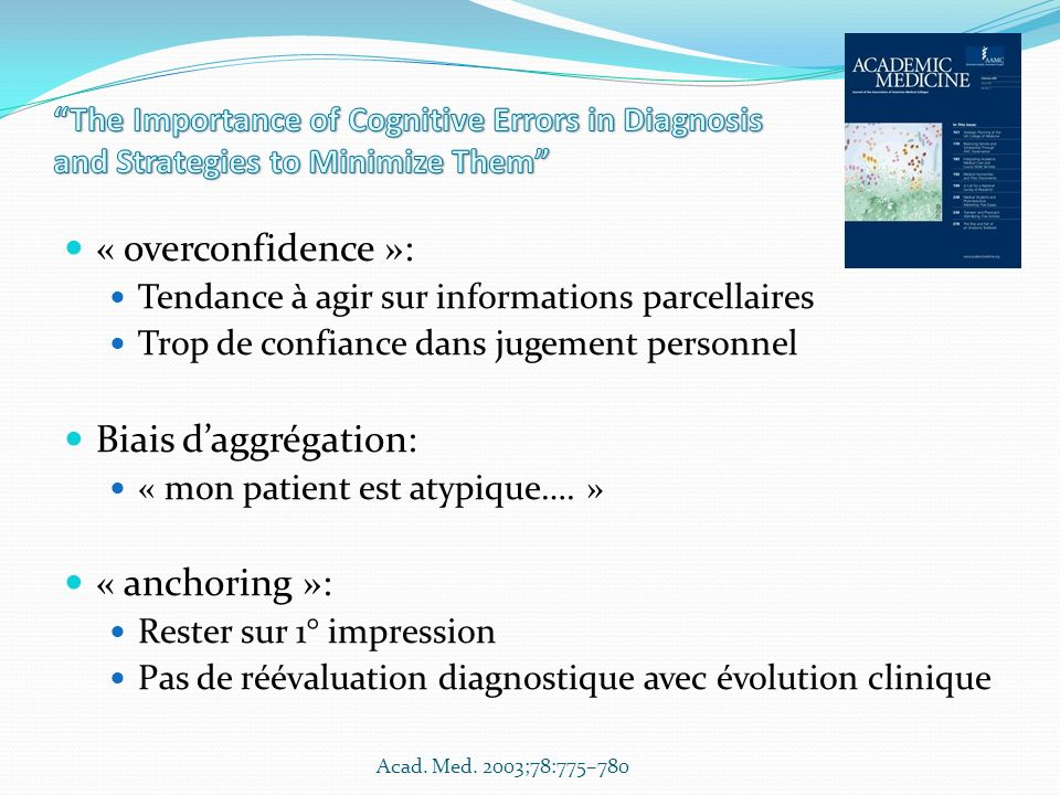« overconfidence »: Tendance à agir sur informations parcellaires Trop de confiance dans jugement personnel Biais daggrégation: « mon patient est atyp