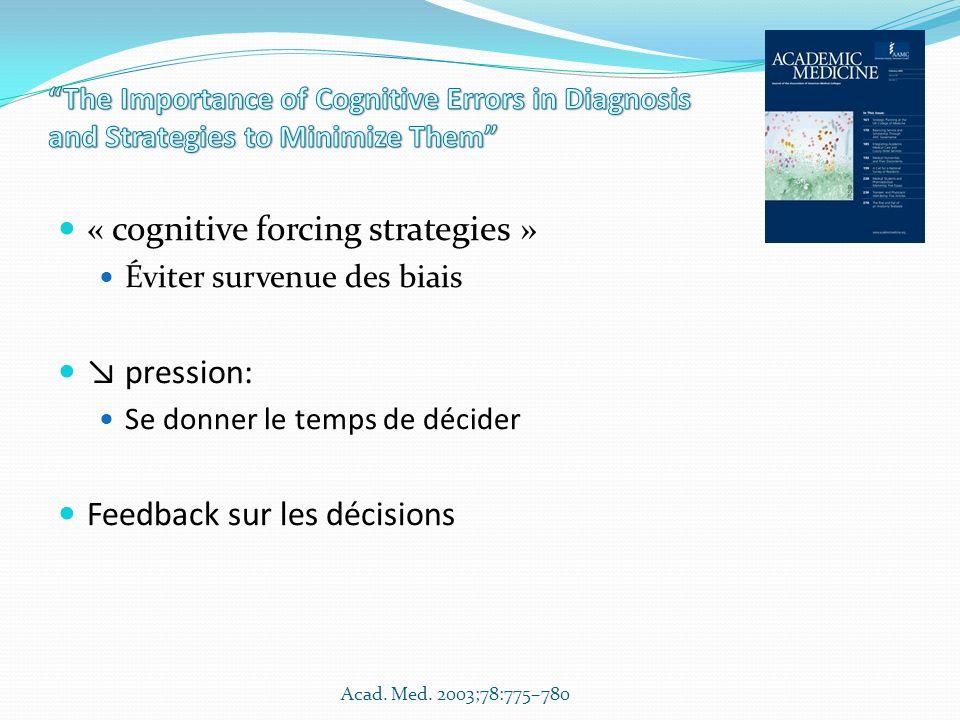 « cognitive forcing strategies » Éviter survenue des biais pression: Se donner le temps de décider Feedback sur les décisions Acad. Med. 2003;78:775–7