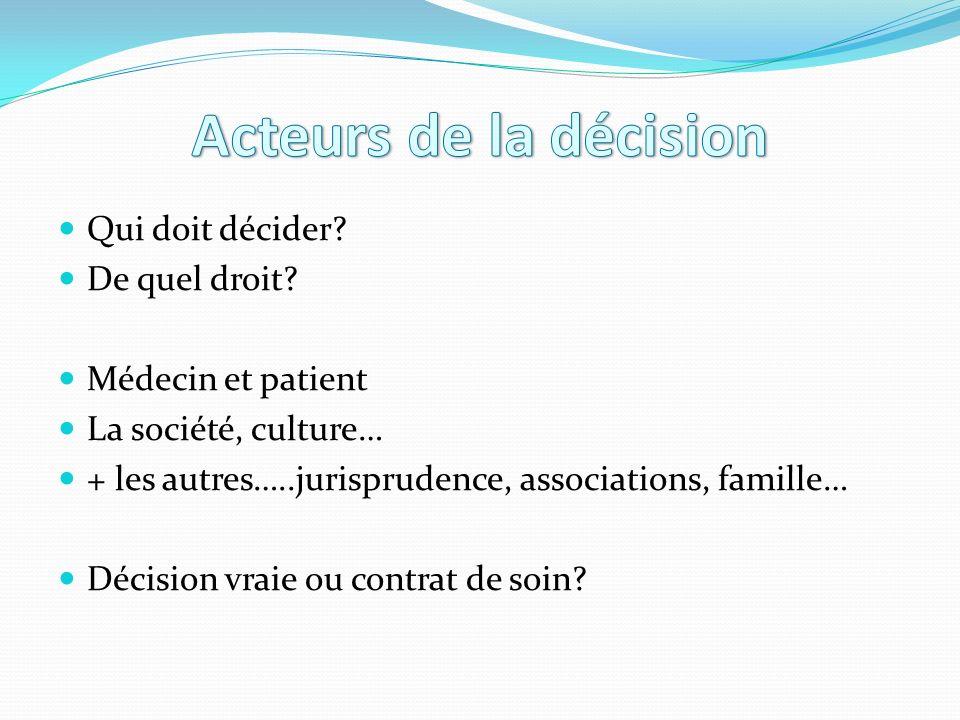 Qui doit décider? De quel droit? Médecin et patient La société, culture… + les autres…..jurisprudence, associations, famille… Décision vraie ou contra