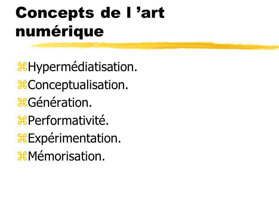 Concepts de l art numérique zHypermédiatisation. zConceptualisation. zGénération. zPerformativité. zExpérimentation. zMémorisation.