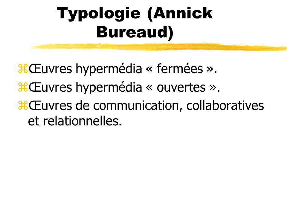 Typologie (Annick Bureaud) zŒuvres hypermédia « fermées ». zŒuvres hypermédia « ouvertes ». zŒuvres de communication, collaboratives et relationnelles