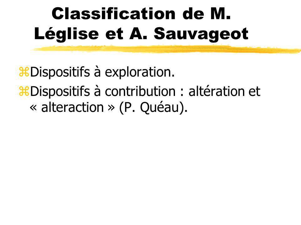 Classification de M. Léglise et A. Sauvageot zDispositifs à exploration. zDispositifs à contribution : altération et « alteraction » (P. Quéau).