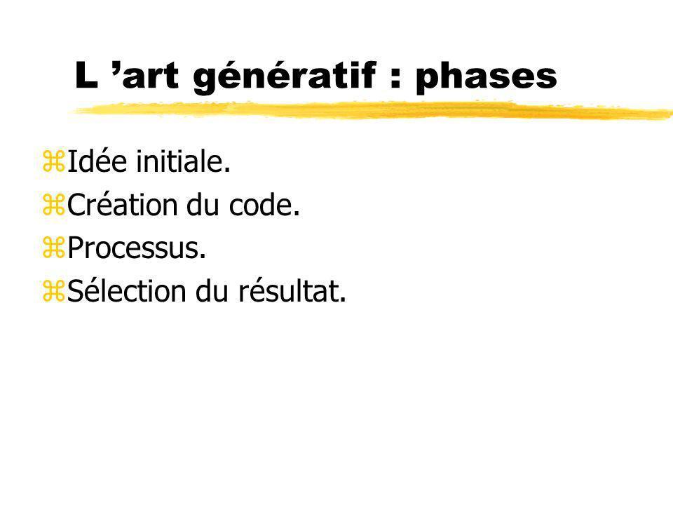 L art génératif : phases zIdée initiale. zCréation du code. zProcessus. zSélection du résultat.