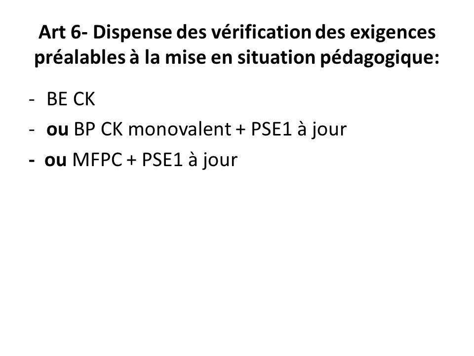 Art 6- Dispense des vérification des exigences préalables à la mise en situation pédagogique: -BE CK -ou BP CK monovalent + PSE1 à jour - ou MFPC + PS