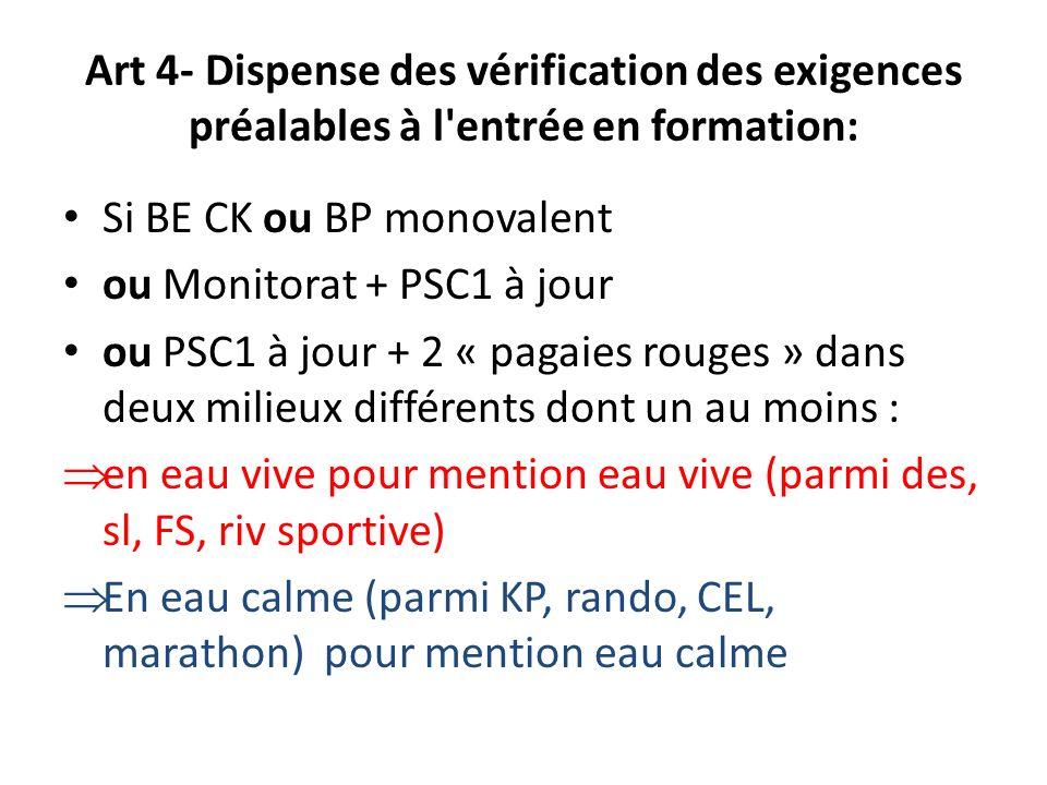 Art 4- Dispense des vérification des exigences préalables à l'entrée en formation: Si BE CK ou BP monovalent ou Monitorat + PSC1 à jour ou PSC1 à jour